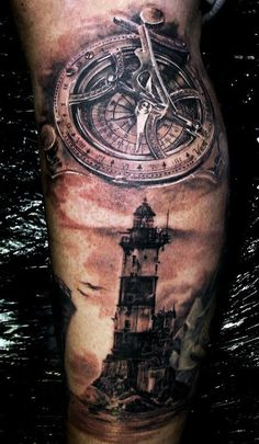 /lighthouse tattoo by Iwan Yug: Tattoo Ideas Lighthouse Tattoos . Top Tattoos, Body Art Tattoos, Clock Tattoos, Sailor Tattoos, Music Tattoos, Nautical Tattoo Sleeve, Cool Tattoos For Guys, Awesome Tattoos, Home Tattoo