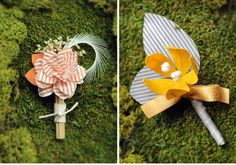 Paper boutonnières to coincide the quirkiness of the bouquets we pinned. Very cool crafty concept!