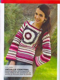 Pulóver, suéter con granny flor y varias puntadas a crochet!