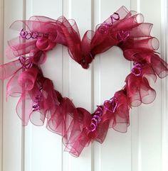 How to:  Valentine Heart Wreath w/  Deco Mesh