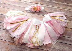 Twinkle Twinkle Little Star Fabric Tutu and Headband // Pink, Gold, and White // Buy it now from FlyAwayJo on Easy // Fast Shipping!