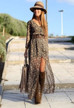 Street Style Long Dresses For Spring Season                                                                                                                                                                                 Mais