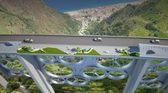 The Solar Wind bridge concept harnesses solar energy through a grid of solar cells embedded in the road surface and wind energy through turbines integrated into the spaces between the bridge's pillars.
