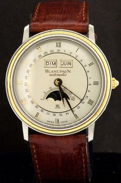 Blancpain SS/18K gold automatic moon face day/date/month calendar men's watch