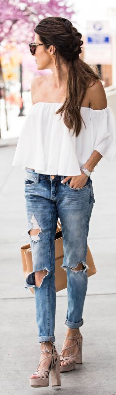 Distressed Denim // Fashion Look by Christine Andrew