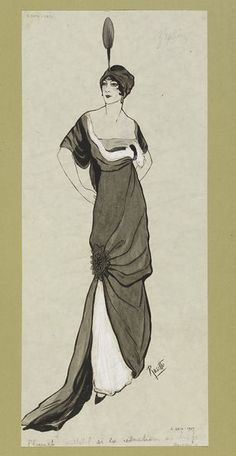 1912 Grisaille depiction of an evening dress with asymmetrical draping and turban.  | Jeanne Paquin | V&A Search the Collections