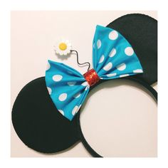 Vintage Minnie Inspired Mouse Ears  Hand made black satin mouse ears with a sequin trimming. A blue with white polka dot bow to match Minnies