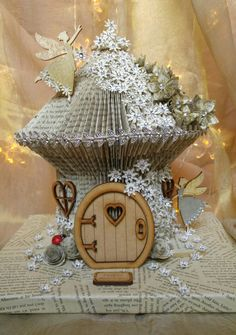 Fairy House. Book folding. Book sculpture.