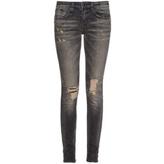 R13 Alison mid-rise jeans (1 835 PLN) ❤ liked on Polyvore featuring jeans, black, black ripped jeans, distressed jeans, destructed skinny jeans, ripped jeans and torn skinny jeans