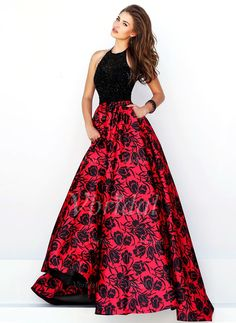 Prom Dresses - $236.56 - Ball-Gown Scoop Neck Floor-Length Satin Prom Dress With Beading (0185097529)