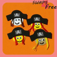 Pirate Hat Crossbones with Hair Girl Scout SWAPS - Free printable pattern and step by step instructions #girlscoutswaps