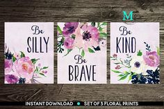 INSTANT DOWNLOAD PRINTABLE Art Baby girl Nursery Decor purple