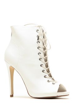 Dollhouse White Lace Up Peep Toe Booties @ Cicihot Heel Shoes online store sales:Stiletto Heel Shoes,High Heel Pumps,Womens High Heel Shoes,Prom Shoes,Summer Shoes,Spring Shoes,Spool Heel,Womens Dress Shoes
