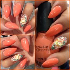 Stiletto nails. Peach with 3D flower accent nail! Love!