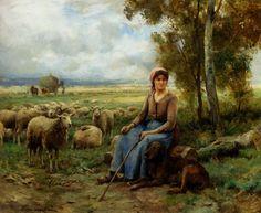 Julien Dupre Shepherdess Watching Over Her Flock
