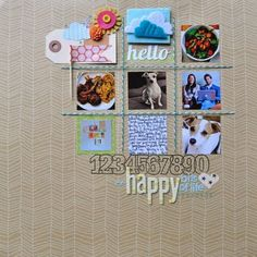 9-piece grid, neutral background with mini-pics and minimal embellies, 12x12 layout, five photos (nine possible)