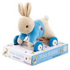 One year olds will have fun with Peter Rabbit as they pull along this plush toy. This gift is gorgeous too!