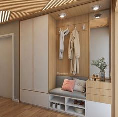 Intime Halle - Flur ideen - New Ideas Foyer Design, Hall Design, House Design, Hallway Closet, Hallway Storage, Ikea Hallway, Home Entrance Decor, House Entrance, Home Decor