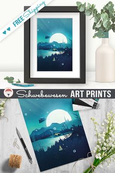 Digital Prints Adventure Awaits Camping Art Print Gift for Him Moonlight Painting Offroad Camping Wanderlust Wall Art 4x4 Painting Retro Travel Poster Blue Artwork Fantasy Art Digital Art Magical Illustration Tent