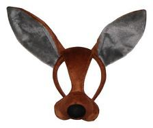 Kangaroo Mask with Sound and Feathers on Top Fun Dress Up Costume Accessory