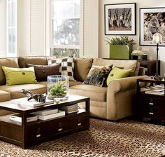 Surprising Green and Brown Interior Decorations for Modern Home Design : Green Cushions Above Brown Sofa With Tiger Rug For Minimalist Living Room Decoration With Marvellous Coffee Table Rugs In Living Room, Living Room Interior, Home And Living, Living Room Designs, Cozy Living, Living Room Decor Green And Brown, Brown Decor, Style At Home, Living Room Inspiration