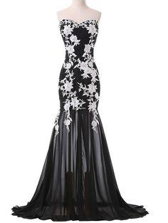 Trumpet/Mermaid Chiffon Sweep Train Appliques Lace Black Popular Prom Dresses #UKM020101643