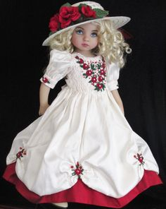 "SILK SMOCKED DRESS SET MADE FOR EFFNER LITTLE DARLING 13""&SAME SIZE DOLLS"