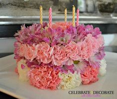 Fresh flower birthday cake with full instructions