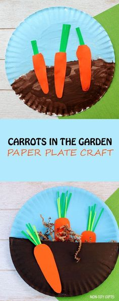 Carrots in the garden craft for kids. Easy paper plate spring or Easter craft for toddlers and preschoolers.   at Non-Toy Gifts