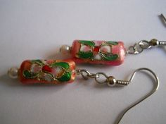 pink and green cloisonne earrings