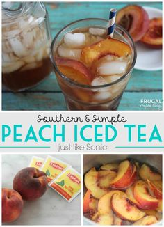 Frugal Coupon Living's Copycat Sonic Recipe - Make your own Simple and Southern Peach Iced Tea. More copy-cat recipes too. Pin to Pinterest.