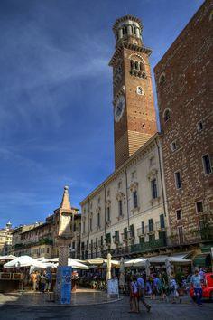 My favorite place in Verona. The market in Piazza Bra'.Verona, Italy