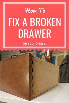 How to Fix A Broken Drawer. Fix a broken dresser drawer. Diy Furniture Tutorials, Diy Furniture Redo, Thrift Store Furniture, Thrift Store Crafts, Furniture Repair, Repurposed Furniture, Furniture Ideas, Furniture Refinishing, Antique Furniture