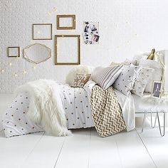 From at home to on campus, the Glam Polka Dot Reversible Comforter Set brings a bold and fun look to your bedroom style. The cotton sateen set features a chic gold polka dot print on crisp white, reversing to a gold chevron print on white. Comforter Sets, Simple Bedroom, White And Gold Bedding, Gold Bed, Gold Bedroom, White Bedroom Furniture, Pink Bedroom Decor, Bedding Sets, Luxurious Bedrooms
