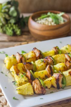 Tasty Grilled Teriyaki Chicken and Pineapple Kebabs - This is a favorite with the kids. Cant get them to eat their fruits. This quick recipe should help with tasty pineapple cooked with chicken. You have just got to try it.  I love pineapple and in pineapple there some enzymes that help break down proteins, so the chicken pineapple combination is not only tasty but very practical on your digestion