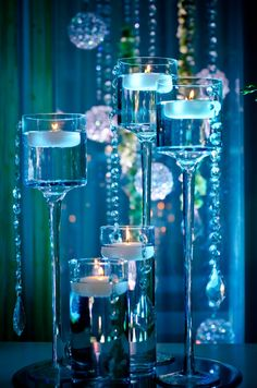 45 Winter Floating Centerpieces Ideas For Your Wedding 50 Candle Centerpieces, Candle Lanterns, Wedding Centerpieces, Wedding Decorations, Centrepieces, Elegant Centerpieces, Blue Candles, Floating Candles, Sweet 16 Candles
