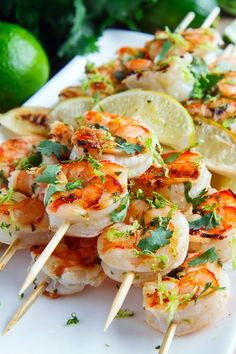 This Cilantro Lime Grilled Shrimp Skewers recipe from Closet Cooking takes about 40 minutes and serves four people. Pro tip: soak the wooden skewers in water before you throw them on the grill and the wood won't char as quickly.