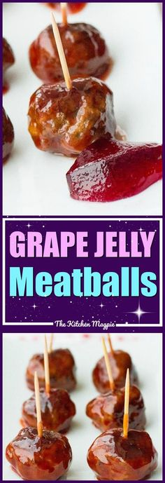 Grape Jelly Meatballs, a classic meatball dish that is only three ingredients! Add a little hot sauce for a kick! #recipes #meatballs #grape #jelly #jam #cooking #appetizers