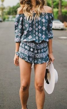 Sexy boho chic tribal print romper and modern hippie hat for a festival style.