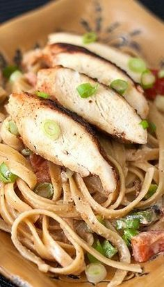 Cajun Chicken Pasta; this is very good! I will definitely make it again. The only changes i made was instead of the onion I used onion salt and instead of roma tomatoes I put in a can of rotel. delicious!