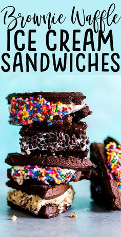 Need a quick and easy fun dessert? Try these easy Brownie Waffle Ice Cream sandwiches! Smooth creamy ice cream sandwiched between two brownie waffles, then dipped in your choice of sprinkles, chocolate chips, nuts or Easy Sandwich Recipes, Fudge Recipes, Best Dessert Recipes, Sweet Recipes, Freezer Recipes, Freezer Cooking, Drink Recipes, Cooking Tips, Winter Desserts