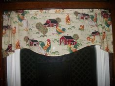 Chicken Rooster Farm Country Kitchen toile fabric window topper curtain Valance #Handmade #Country