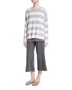 Round-Neck Long-Sleeve Striped Sweater Top, Plus Size   and Matching Items by Eileen Fisher at Neiman Marcus.