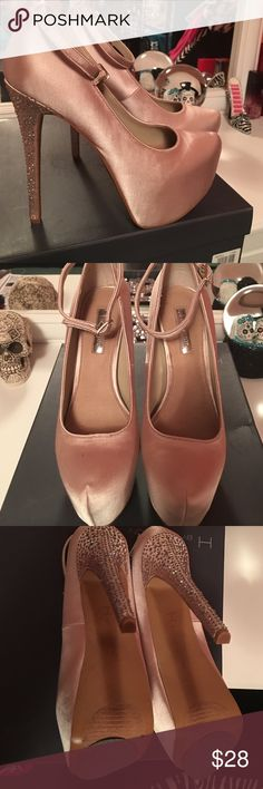 """Pump heels with rhinestones Worn once only !! Light golden / rosey color pumps with ankle strap and rhinestones all over heels- no rhinestones missing ! Heels 5"""" high , comfortable . Size 8. H by Halston Shoes Heels"""