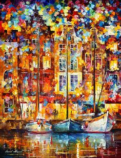 0491  Harbor Of Color Print by Leonid Afremov