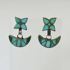 Vintage Zuni Inlay Turquoise Dangle Earrings
