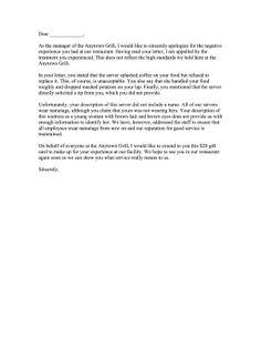 003 Complaint Letter for Poor Service Sample Complaint