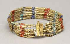"""ancientjewels: """" Egyptian beaded armlet of gold, carnelian, lapis lazuli, glass, faience on bronze or copper wire. New Kingdom, 18th dynasty c. 1550–1525 BCE. From the collection of the Metropolitan Museum of Art. """""""