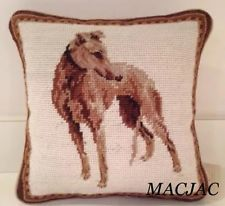 "Greyhound Dog Needlepoint Pillow 10""x10"" NWT"