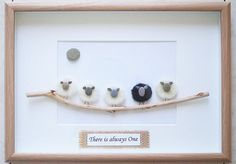 This is a beautiful small Pebble Art framed Picture with Sheep - There is always One handmade by myself using Pebbles, Driftwood, Wood , Merino Wool Size of Picture incl Frame : approx. 32cm x 23cm Thanks for looking Doris